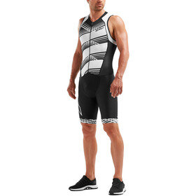 2XU Compression Trisuit con zip intera Uomo, black/black white lines
